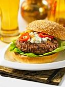 A lamb burger