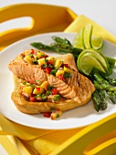 Grilled salmon with peach salsa on toast