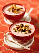 Strawberry yogurt with granola