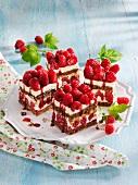 Raspberry cream slices with brittle