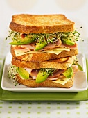 Toasted cheese, turkey ham, avocado and bean sprout sandwiches