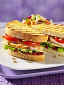 Toasted turkey sandwich with cranberry sauce