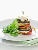 Aubergine and pepper stack with mushrooms and ricotta