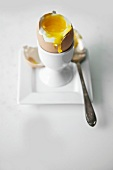 Soft Boiled Egg in Egg Cup with Top Broken Off