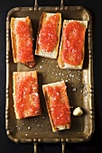 Bruschette (toasted bread topped with tomato sauce, Italy)