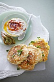 Water lily pancakes with cheddar cheese and chilli yoghurt