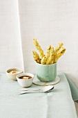 Asparagus tempura with dips