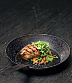 Grilled Boneless Pork Chop Over Succotash; In Cast Iron Skillet