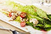 Romain Lettuce Salad with Feta Cheese, Tomato and Vinaigrette Dressing