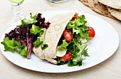Pita Bread Stuffed with Salad and Mozzarella Cheese