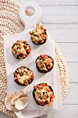 Stuffed giant mushrooms gratinated with mozzarella