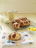 Hot cross buns with butter for Easter