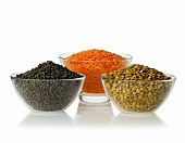 Urid beans, red lentils and green lentils in glass bowls
