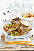 Grilled chicken with orange slices