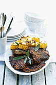 Grilled pork chops with sage and sweetcorn