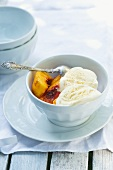 Grilled peach with vanilla ice cream