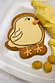 An iced Easter chick biscuit