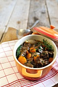 One pot beef stew with vegetables and fresh herbs