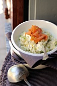 Cream cheese and smoked salmon risotto