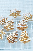 Christmas tree and star-shaped biscuits decorated with icing sugar