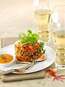 Salmon tartar with a papaya vinaigrette