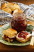 Apple and plum jam with walnuts
