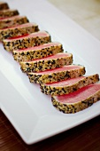 Sliced Seared Tuna on a Platter