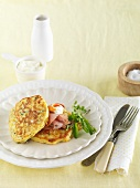 Corn cakes with smoked ham