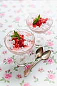 Strawberry dessert with meringue and quark