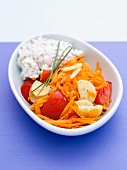Raw vegetables with cottage cheese