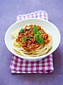 Spaghetti with a vegetarian Bolognese sauce