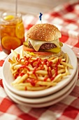 Cheeseburger and Fries with Ketchup; Iced Tea