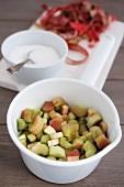 Rhubarb, chopped and sugared