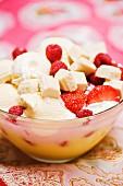 Vanilla ice cream with berries and white chocolate