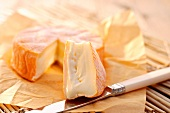 Chaumes cheese on paper with a cheese knife