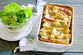 Mushroom and feta cannelloni with salad