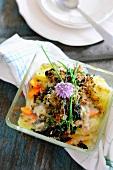 Spinach and potato gratin with gorgonzola