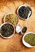 Various types of green tea