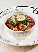 Borscht with savoy cabbage rolls