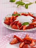 Yogurt mousse with fresh strawberries and mint