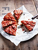 Tomato tart, sliced