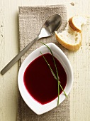 Cream of beetroot soup with bread