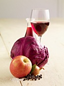 Ingredients for apple red cabbage