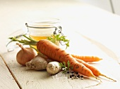 Ingredients for carrot and ginger soup