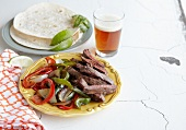 Fajitas Made with Buffalo Flank Steak