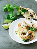 Shrimp with Lime Cilantro Dressing; Flatbread