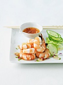 Shrimp Appetizer with Cucumbers and Chili Dipping Sauce