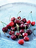 Close up of plate of cherries