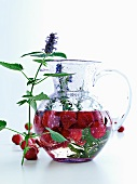Pitcher of fruit, herbs and water