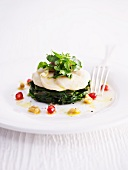 Scallop slices with a wild herb salad on a bed of spinach